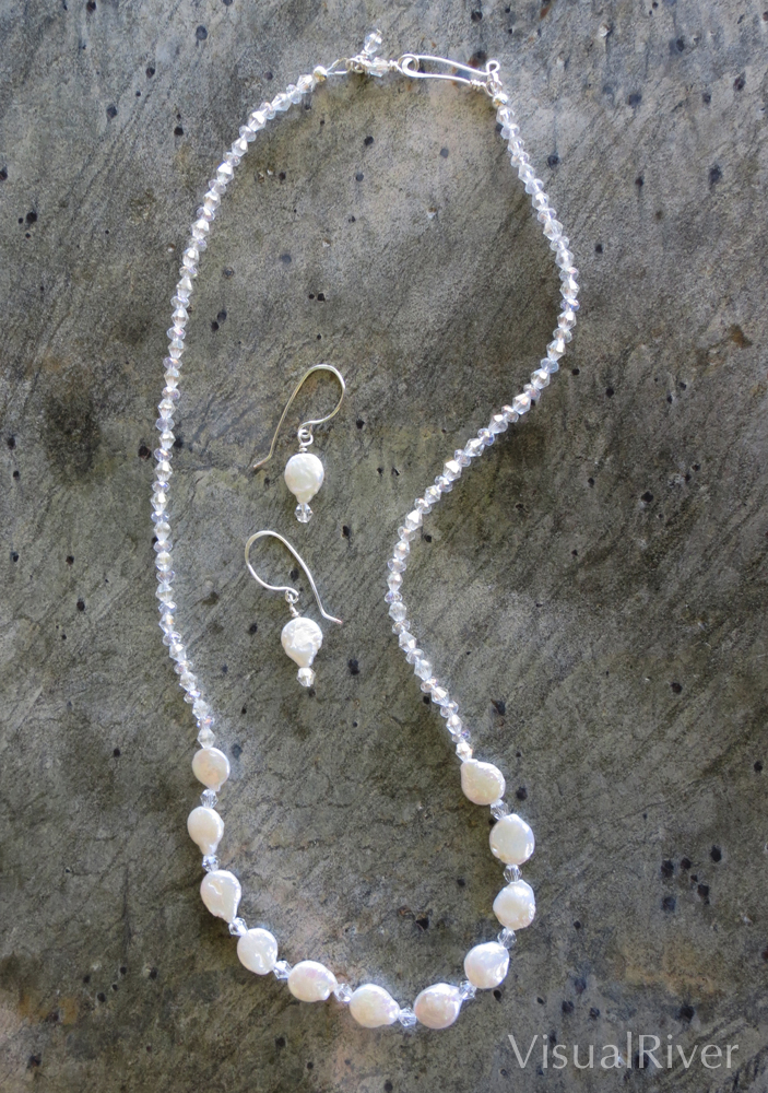 Pearl Coins with Sparkle Necklace Set