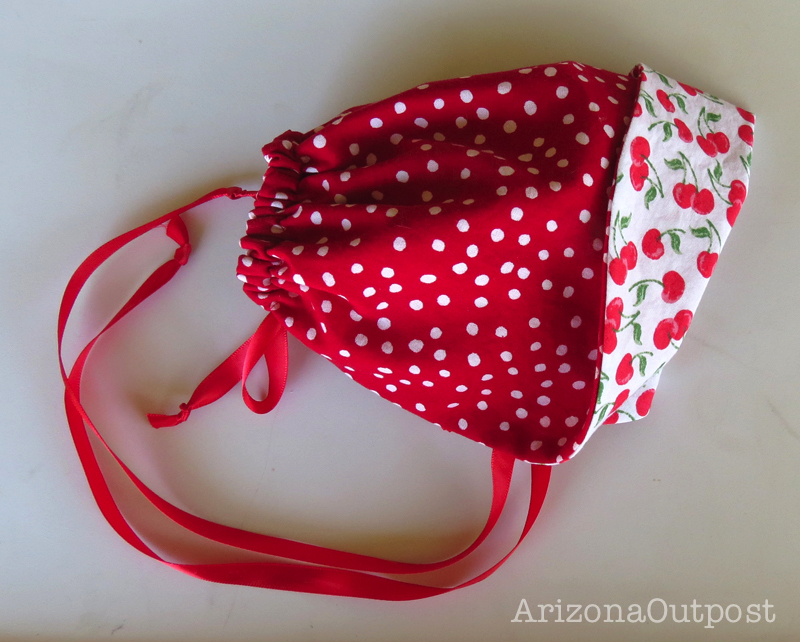 Cherry Baby Bonnet with Polka Dots