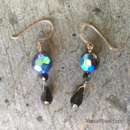 Black Czech Crystal Drop Earrings