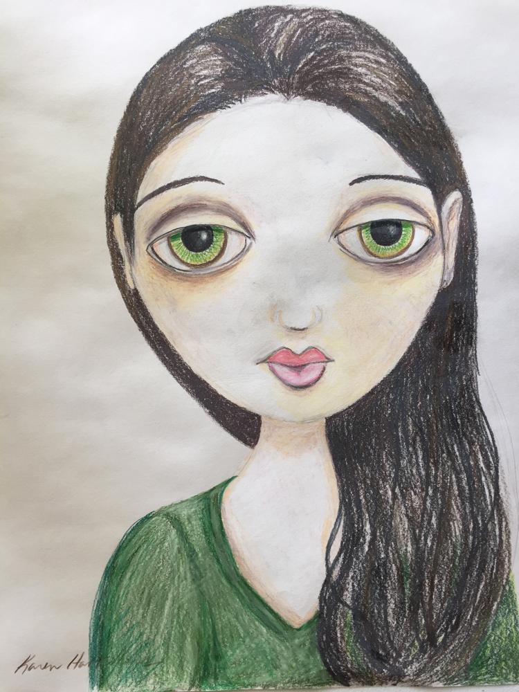 Mia, colored pencil drawing, 14″x17″