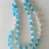 Aqua and White Seaglass Double Strand Necklace