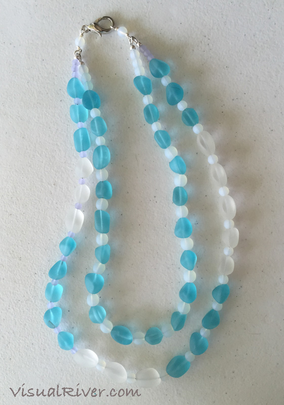 Aqua and White Seaglass Double Strand Necklace