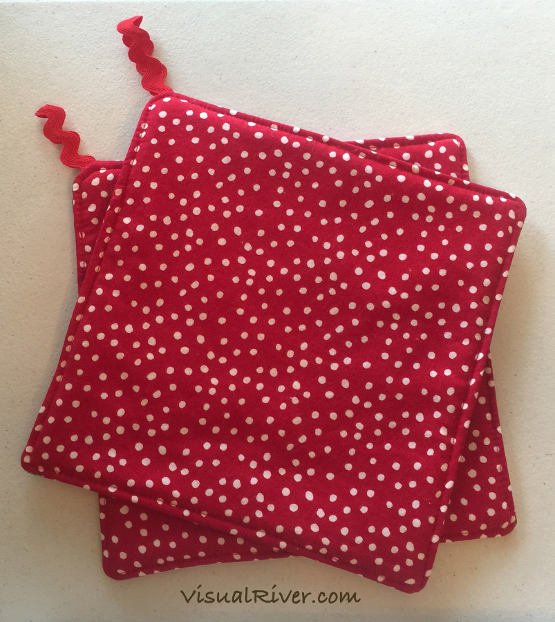 2 Red and White Gingham with Desserts Print Pot Holders ~ 100% Cotton