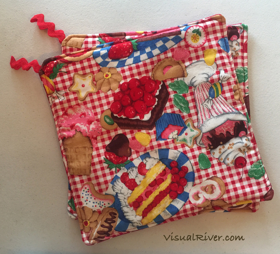 Red and White Gingham with Desserts Print Potholders