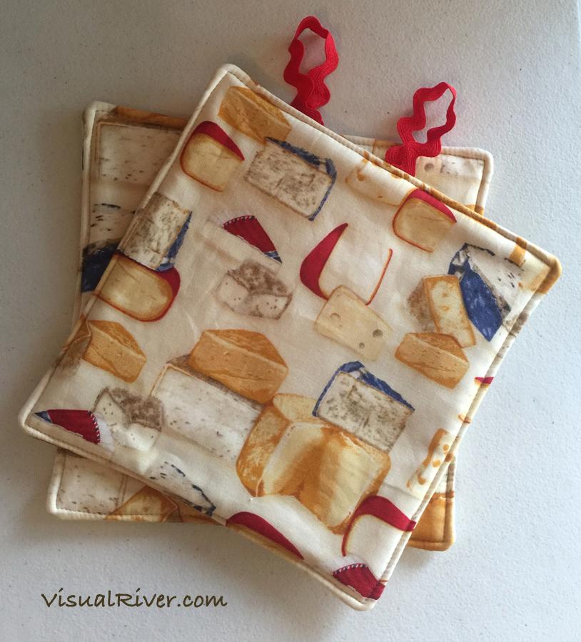 Cheese Print Potholders