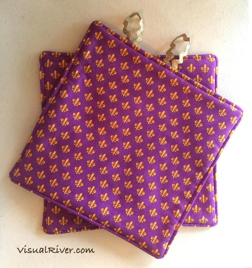 Purple and Gold Fleur-de-lis Potholders