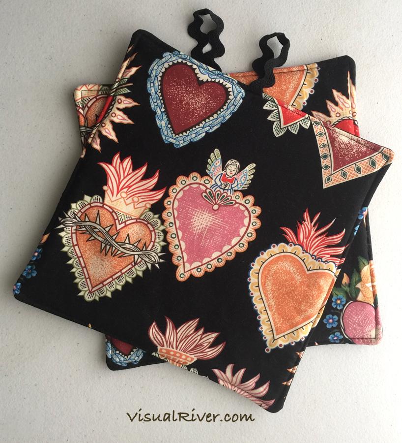 Sacred Heart Potholders
