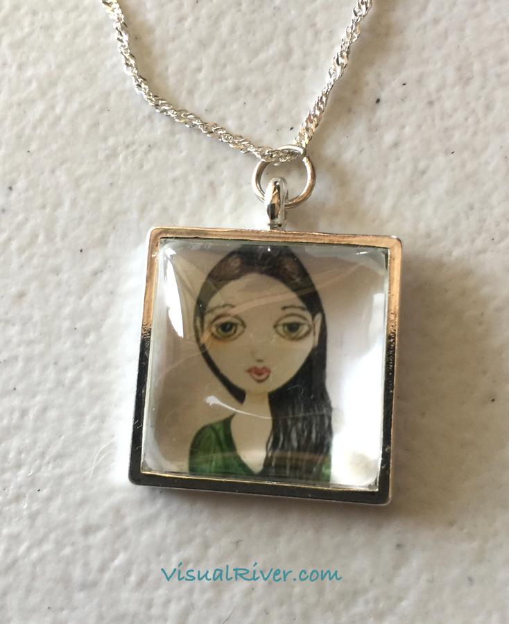 Mia Portrait Pendant Necklace on Chain