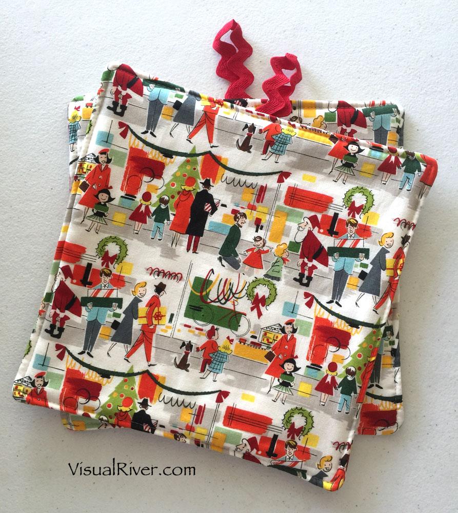 Retro Christmas Shopping Pot Holders