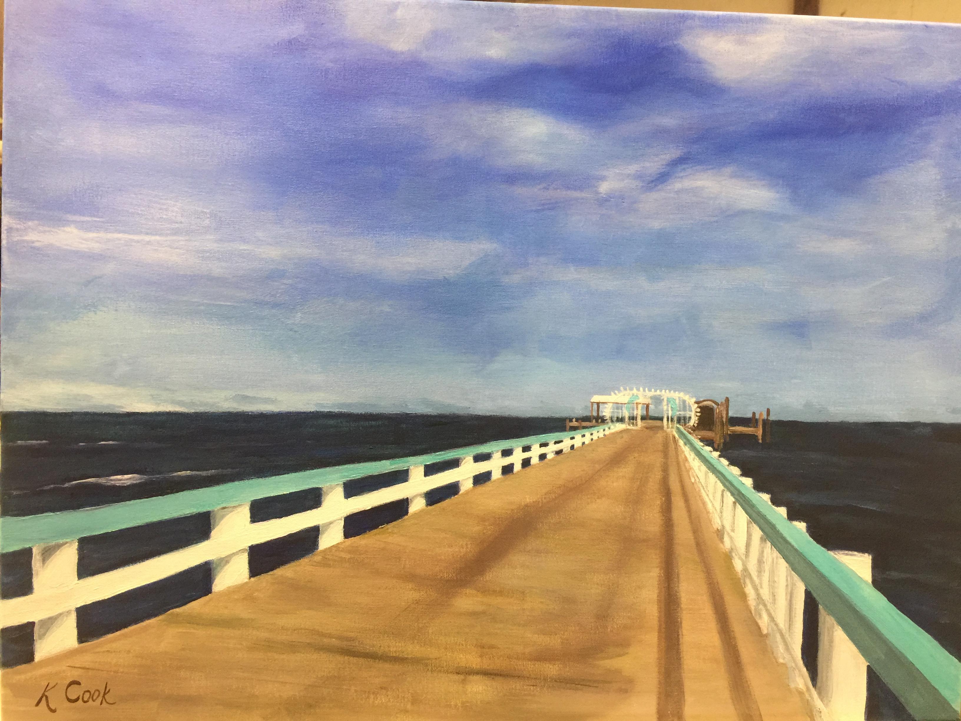 Bokeelia Fishing Pier, acrylic on canvas