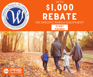 $1,000 Rebates offered by Williamsburg Heating & Air Conditioning