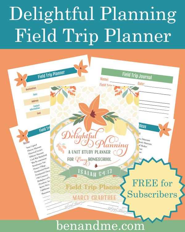 homeschool giveaway - field trip planner