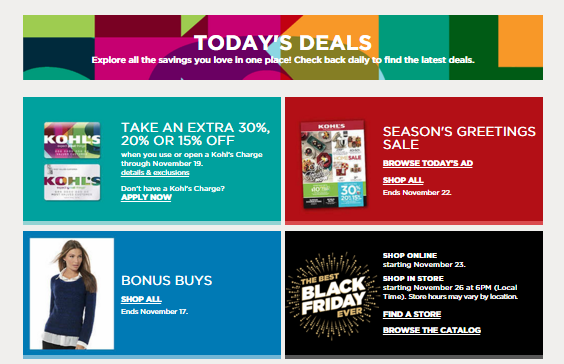 Kohls Christmas Black Friday and Daily Deals
