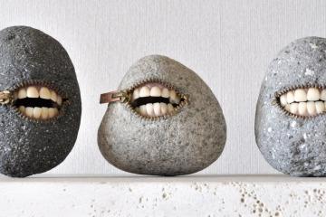 hirotoshi itoh - surrealistic stone sculpture - laughing stones