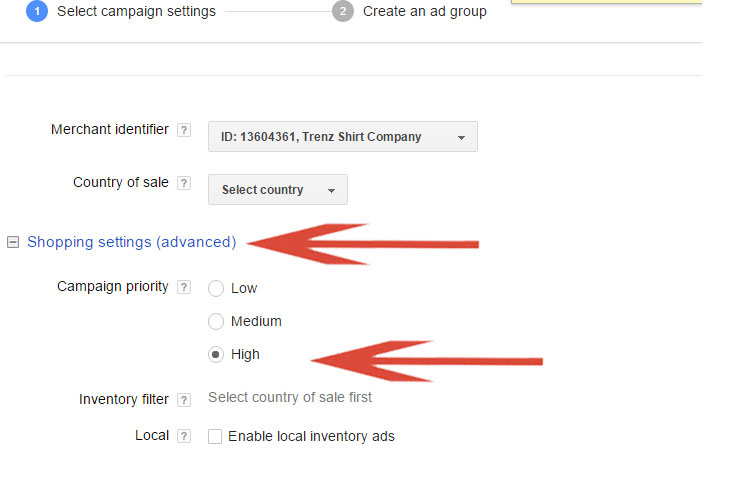 Google Shopping - Setting Campaign Priority