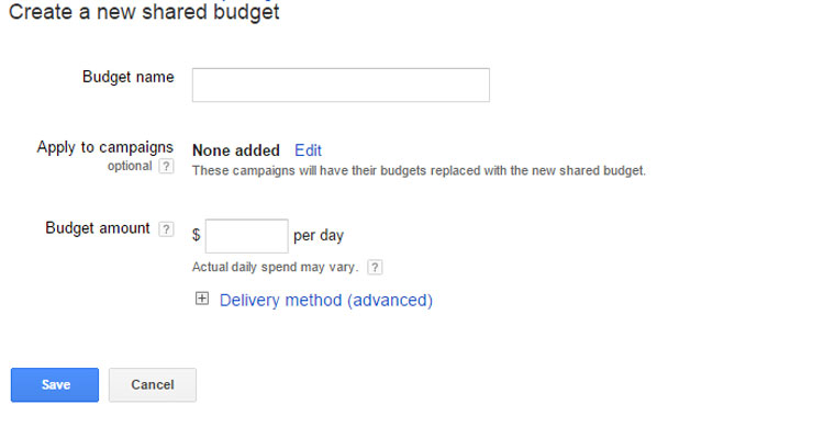 Create New Shared Budget In Google AdWords
