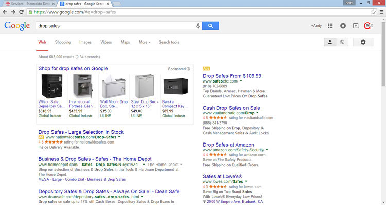 Previous SERP layout with right column ads
