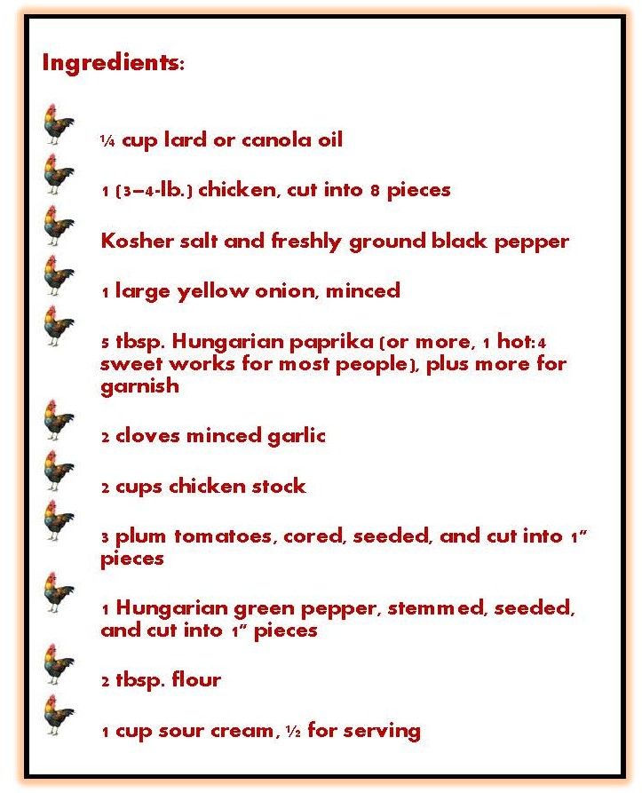 Paprika Hendl ingredients