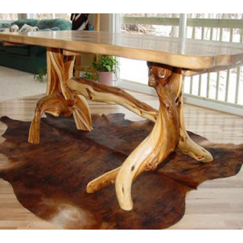Solid Slab Log Dining Table With Artistic Base Rustic