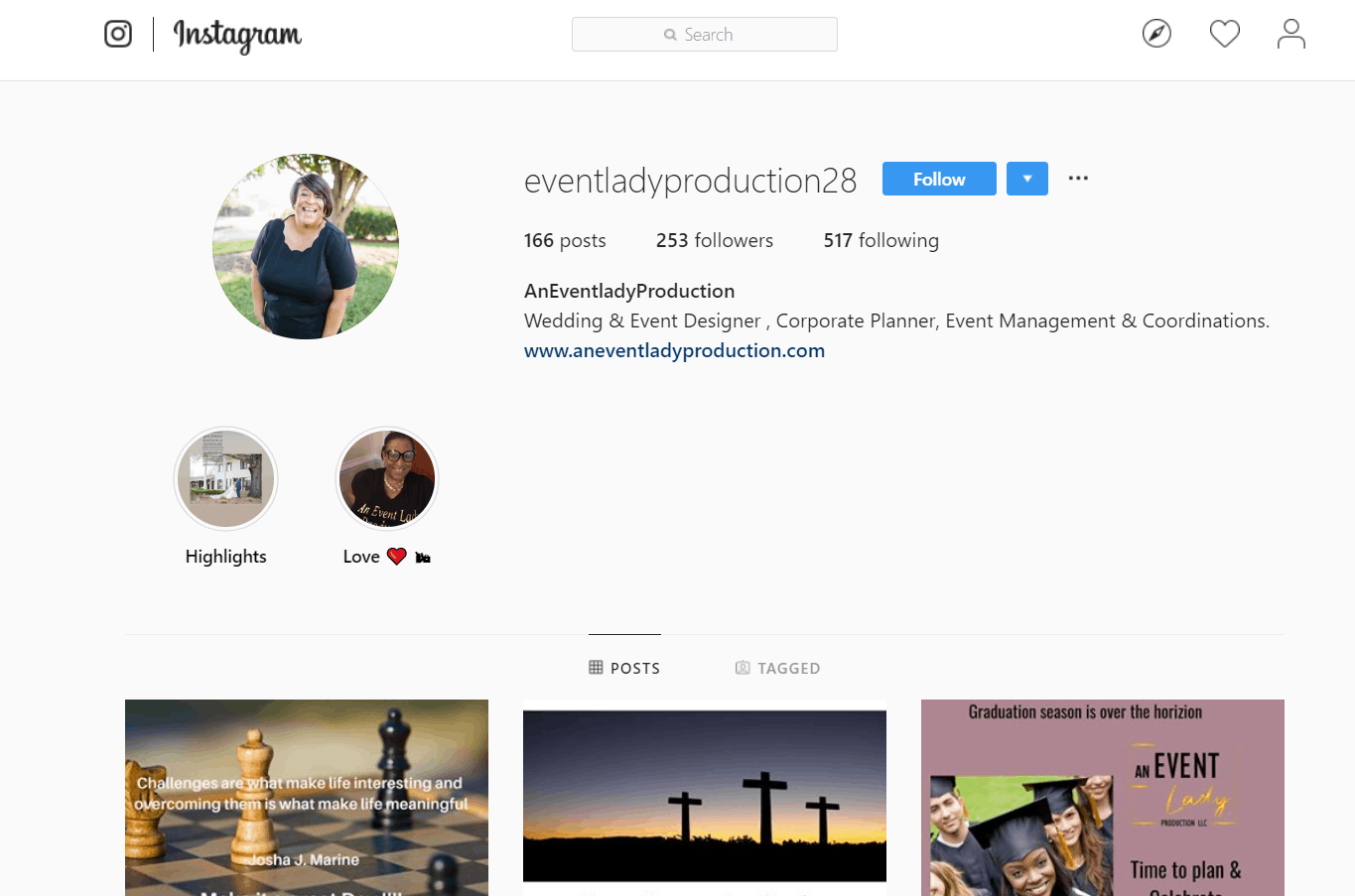 An Event Lady Production Website Review and Social Media Review