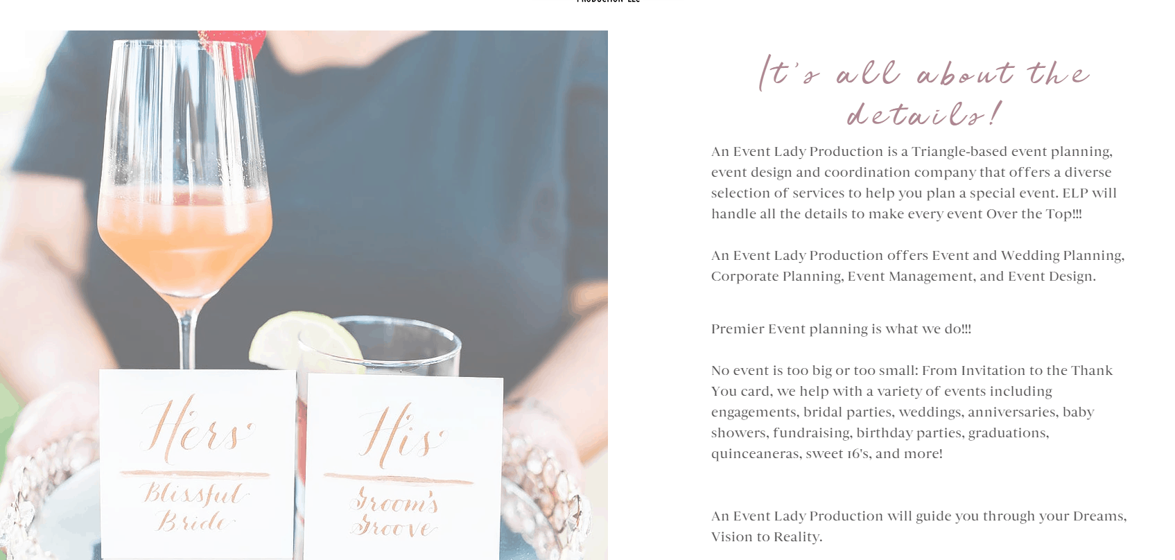About page 1 -  An Event Lady Production Website
