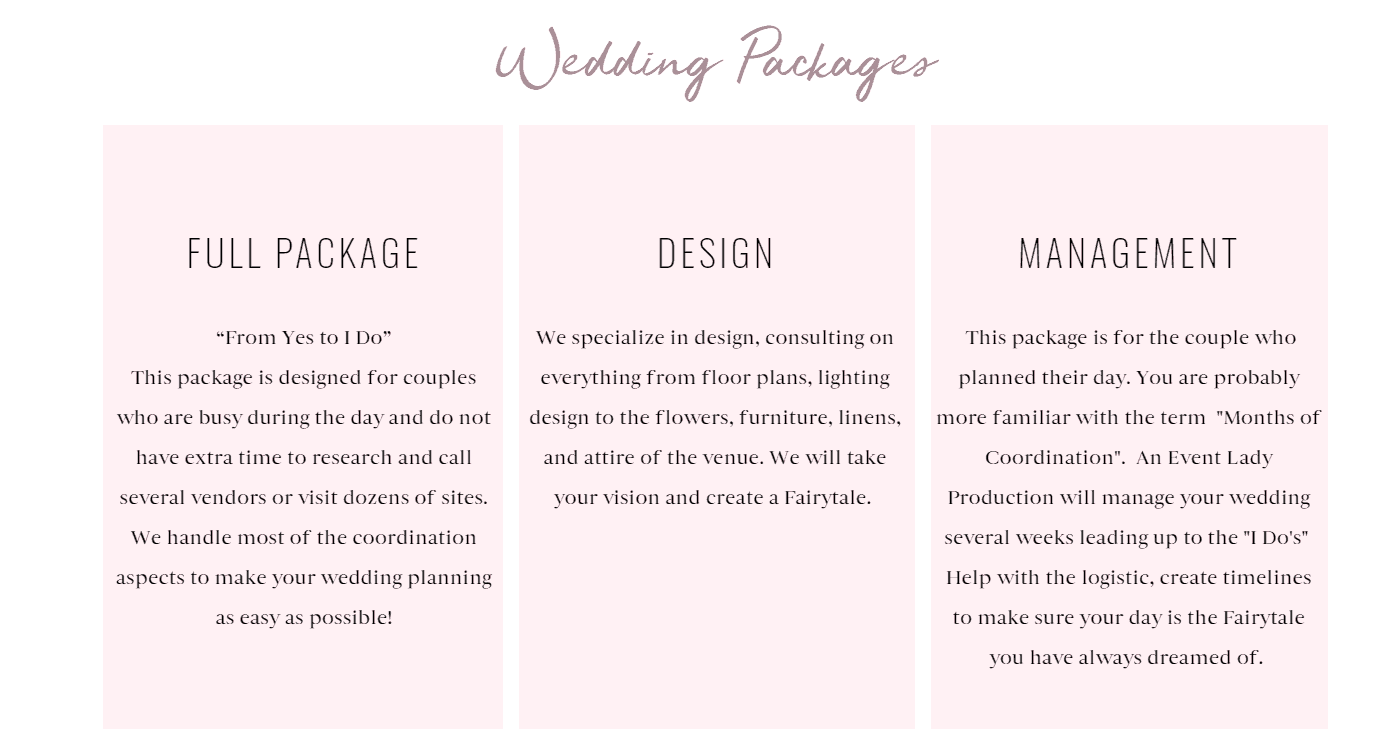 Services Page 2 - An Event Lady Production Website Review