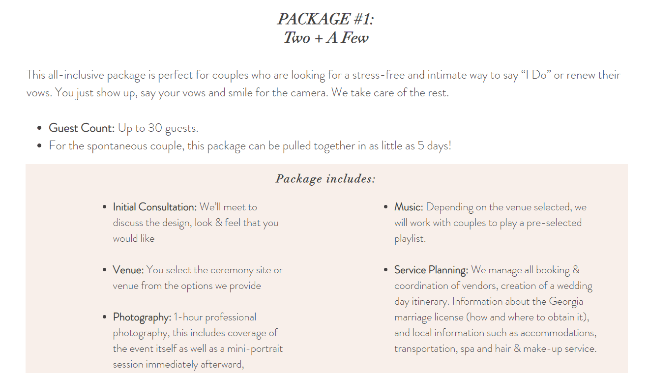 Example of Packages Page from Eclectic Eventz
