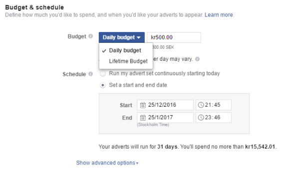 Facebook Budgets settings