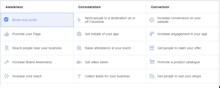 Facebook goals for campaigns