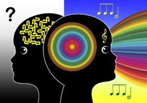 Juxtapositioned silhouettes of a child's brain with and without music