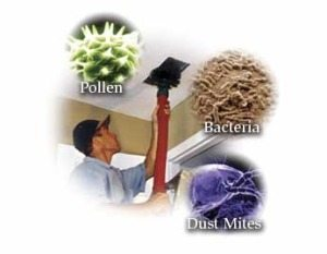 Images of magnified pollen, bacteria, and dust mites around an image of a technician cleaning AC ducts in Pearland, TX