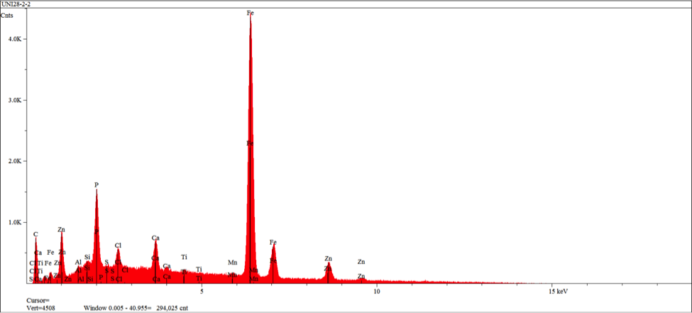 Figure 13 – EDS spectrum obtained from area 2 in figure 11 indicating elements/levels characteristic of a calcium modified zinc phosphate conversion coating with reisudual primer elements (chlorine and titanium)