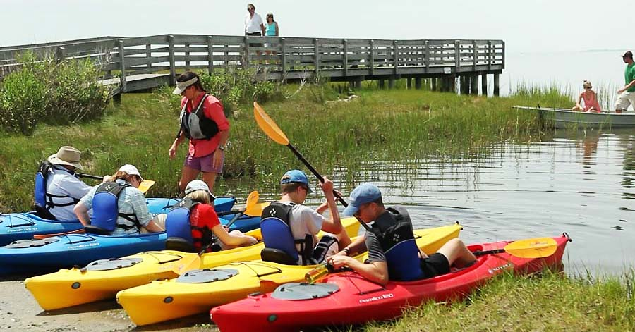 Kayaking tour group