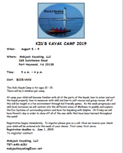 Kids Kayak Camp Mathews 2019