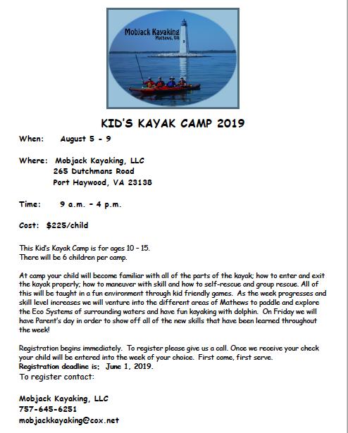 Kids Kayak Camp Mathews 2019