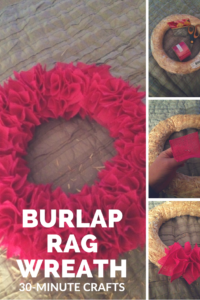 Make this textural burlap rag wreath. Step-by-step instructions.
