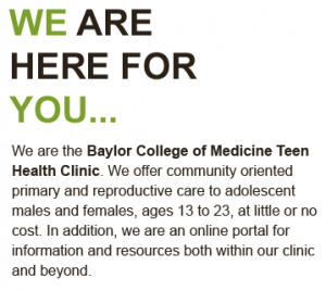 The Baylor College of Medicine Teen Health Clinic