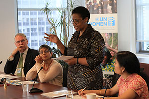 UN Women Executive Director Phumzile Mlambo-Ngcuka meets with civil society partners based in New York in her second week