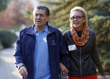 Chairman and CEO of Saban Capital Group Inc. Haim Saban and wife Cheryl attend the Allen & Co Media Conference in Sun Valley, Idaho