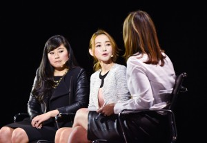 Yeonmi Park, 21-year-old defector, North Korean Human Rights Activist, Hannah Song, President and CEO, LINK (Liberty In North Korea) and Savannah Guthrie, Co-anchor, The Today Show on 'The Great Escape' at The 2015 Women In The World Summit,  Lincoln Center, New York City; 4/23/2015