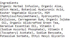 Azure Naturals Hyaluronic acid ingredients