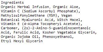 Azure Naturals Vitamin C serum ingredients