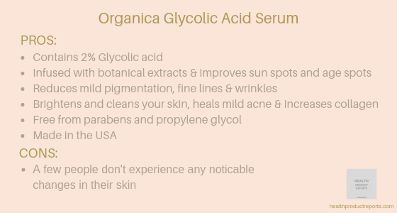 Organica skin brightening glycolic acid serum