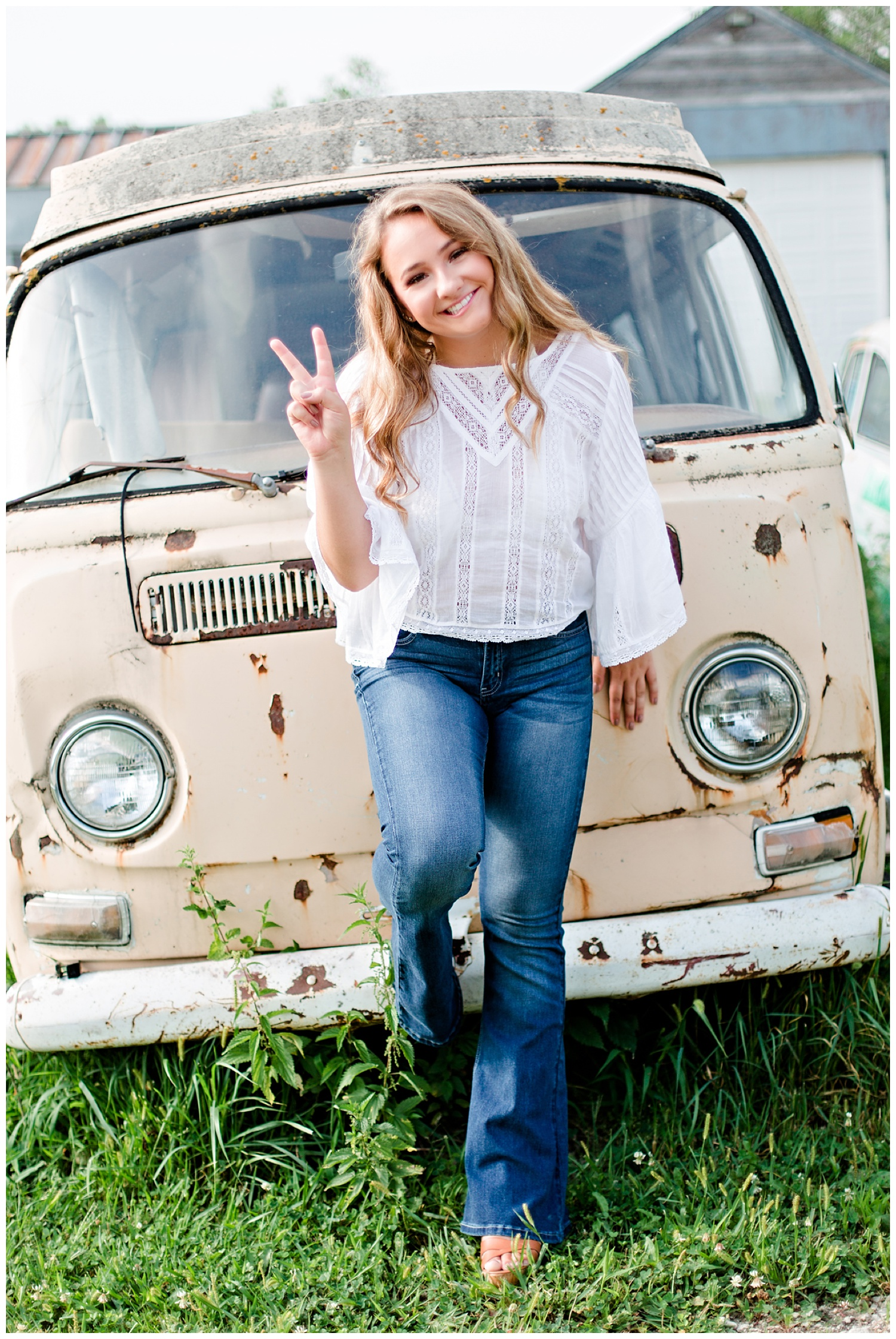 Iowa Senior girl wearing boho inspired outfit in Algona, Iowa