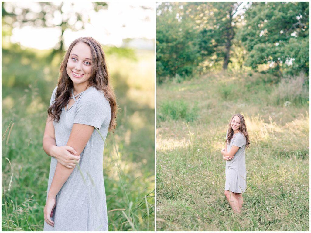 Senior photos open grassy field   senior poses   Iowa Senior Photographer   CB Studio