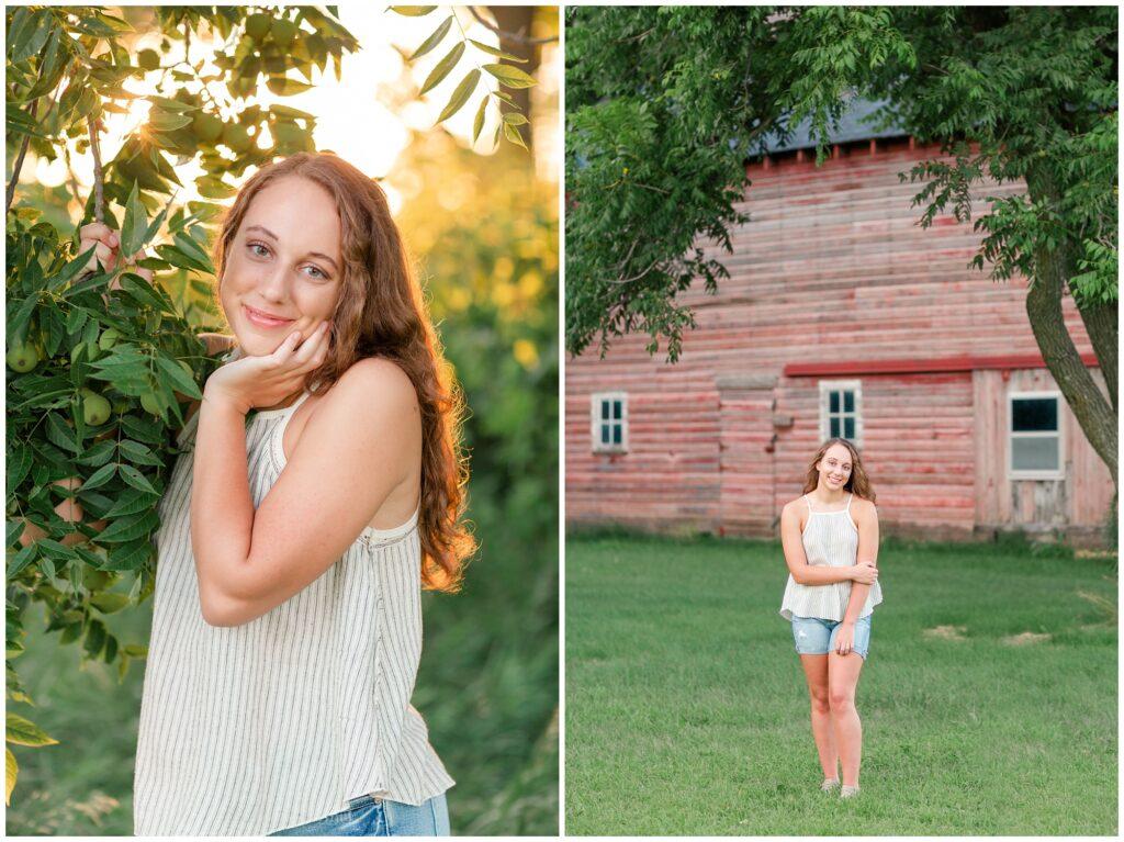 Senior photos golden hour and barn   senior poses   Iowa Senior Photographer   CB Studio