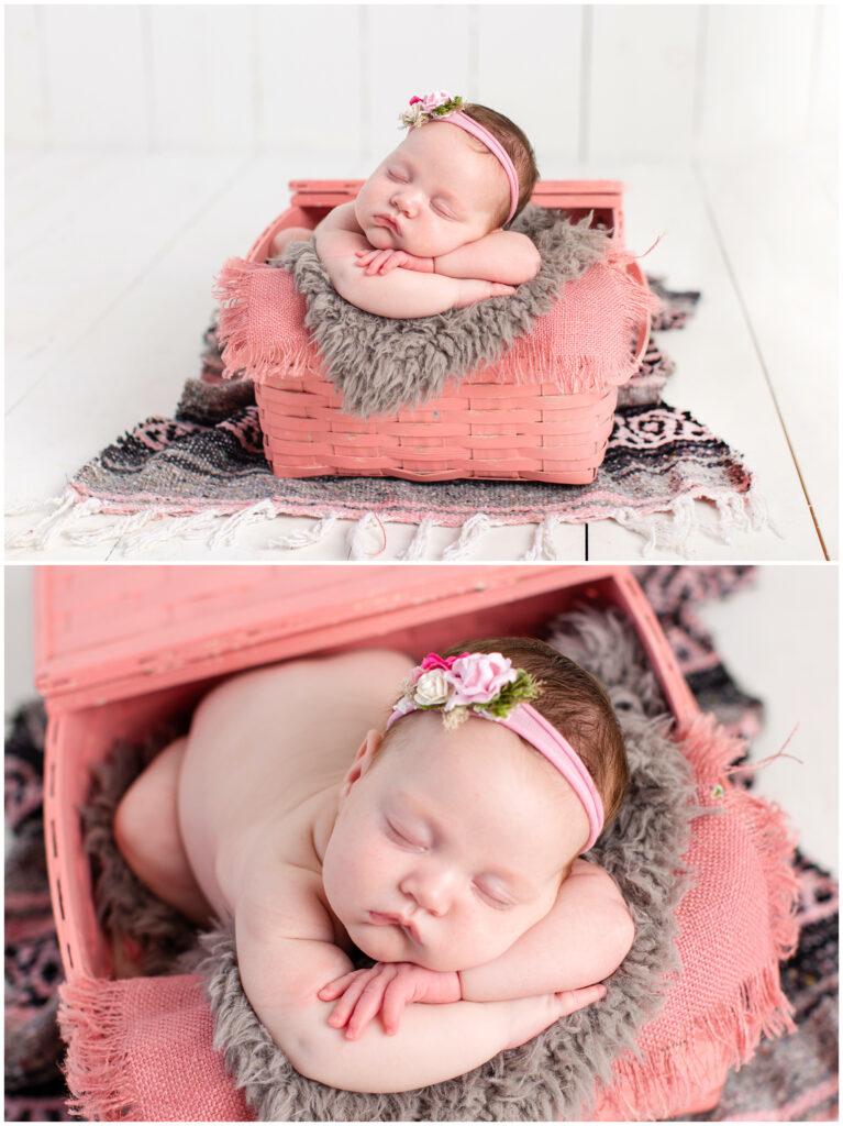 Baby pose with basket | Iowa Newborn Photographer | CB Studio