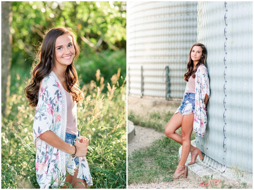 Farm senior picture ideas | grassy field senior picture ideas | Iowa Senior Photographer | CB Studio