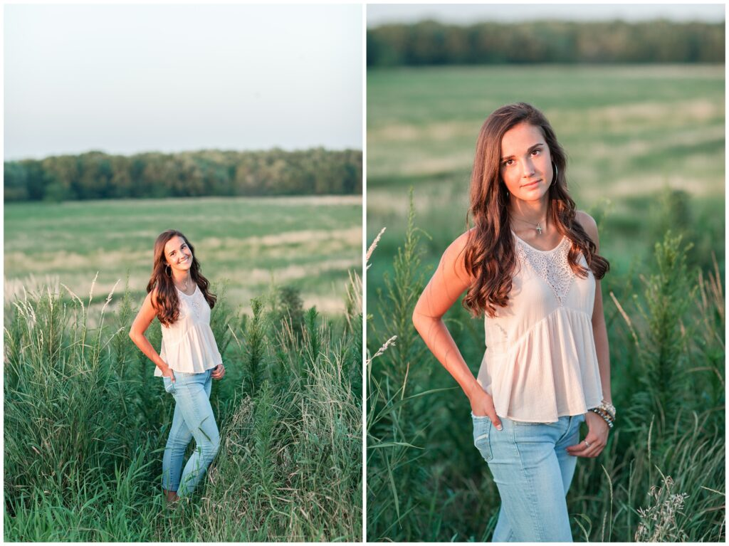 grassy field American flag senior picture ideas | Iowa Senior Photographer | CB Studio