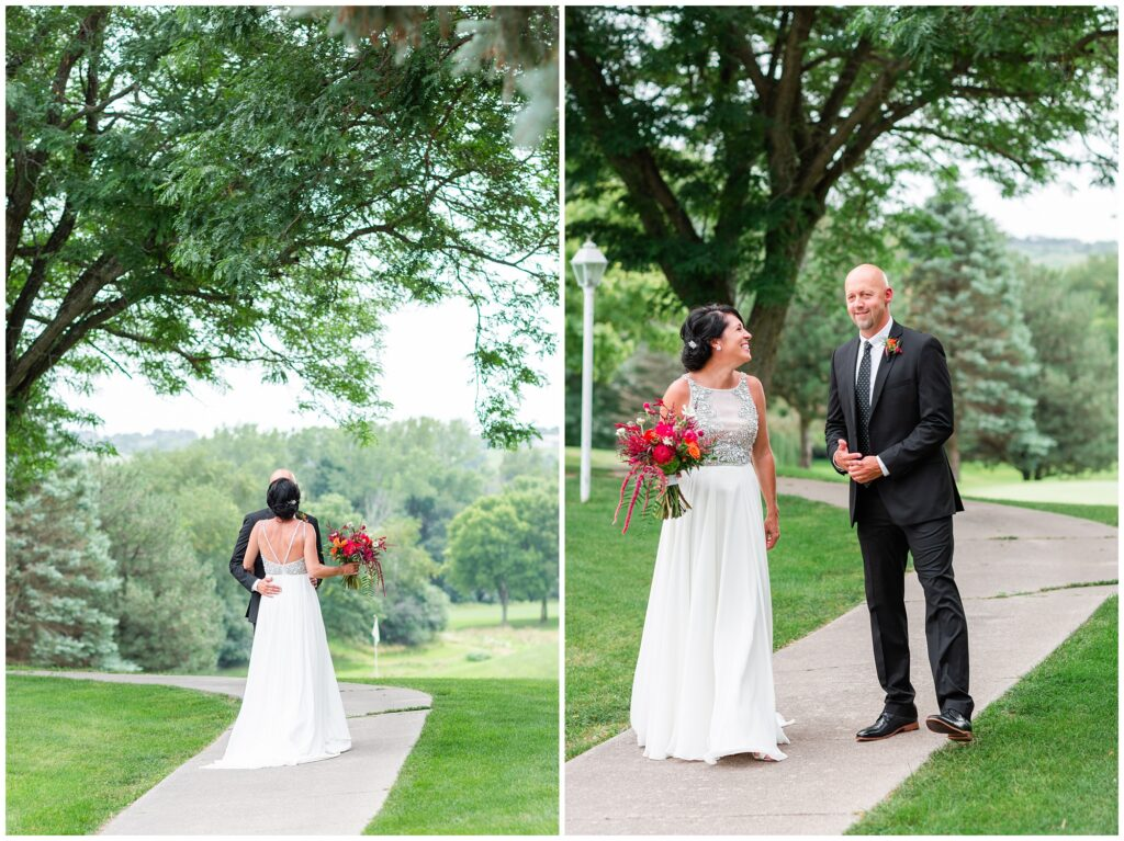 Bride and groom first look on a golf course | Iowa Wedding Photographer | CB Studio